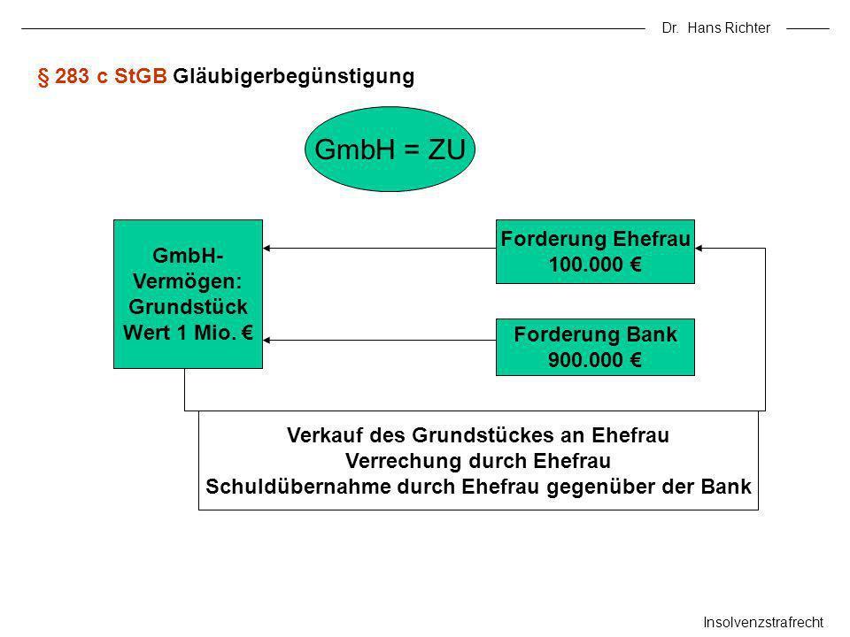 Dr. Hans Richter Insolvenzstrafrecht § 283 c StGB Gläubigerbegünstigung GmbH = ZU GmbH- Vermögen: Grundstück Wert 1 Mio. Forderung Ehefrau 100.000 For