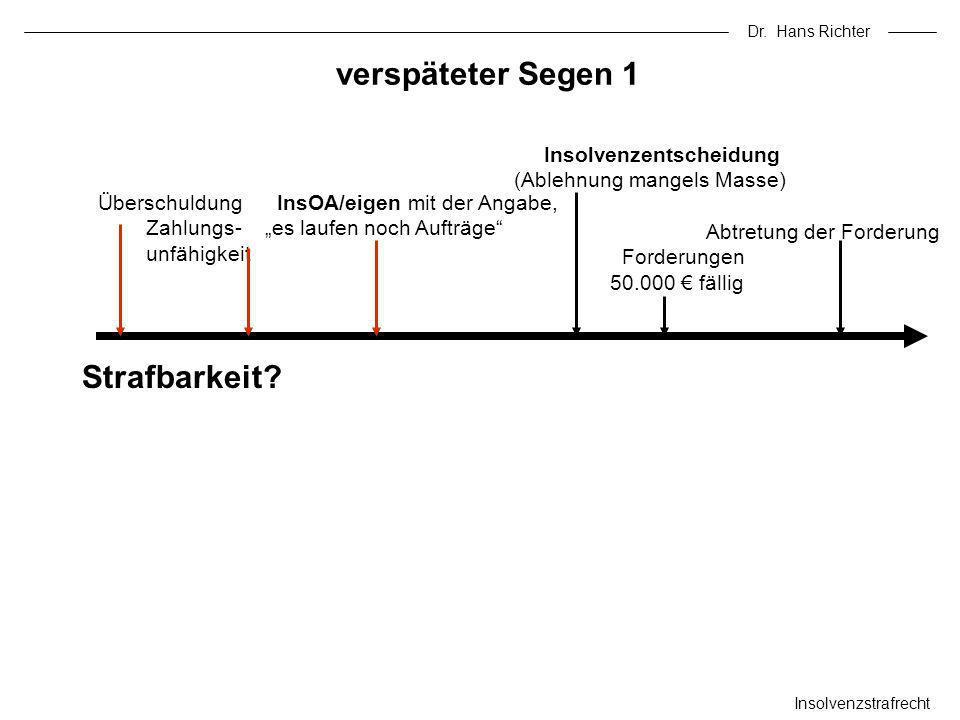 Dr. Hans Richter verspäteter Segen 1 Insolvenzstrafrecht Überschuldung InsOA/eigen mit der Angabe, Zahlungs- es laufen noch Aufträge unfähigkeit Insol