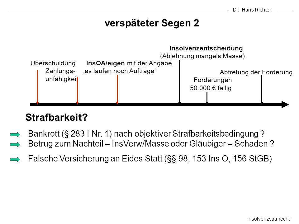 Dr. Hans Richter verspäteter Segen 2 Insolvenzstrafrecht Bankrott (§ 283 I Nr. 1) nach objektiver Strafbarkeitsbedingung ? Betrug zum Nachteil – InsVe