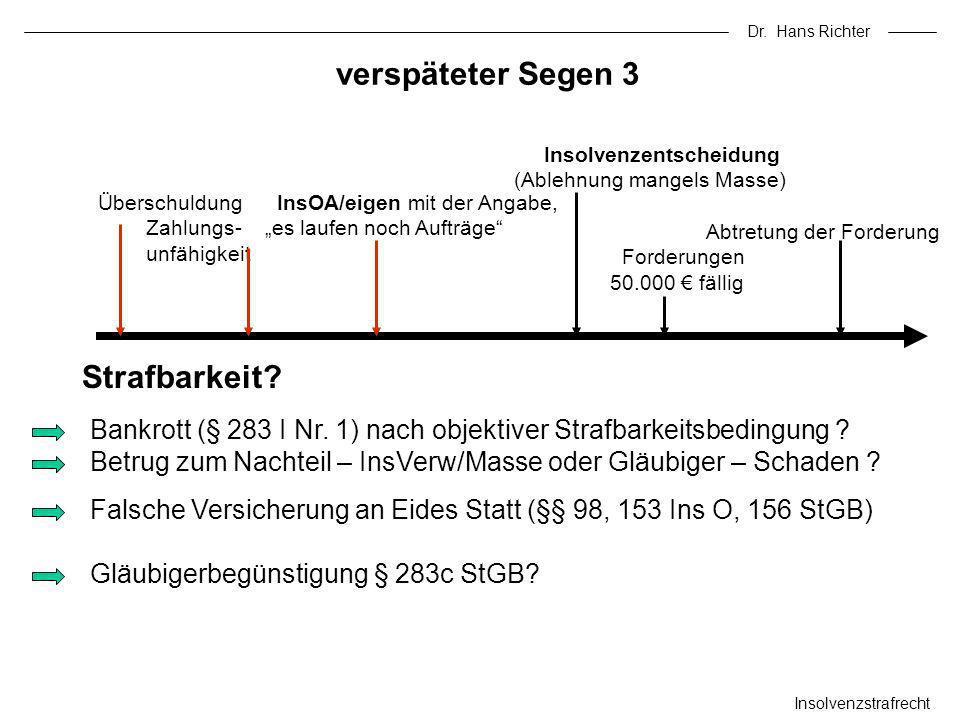Dr. Hans Richter verspäteter Segen 3 Insolvenzstrafrecht Bankrott (§ 283 I Nr. 1) nach objektiver Strafbarkeitsbedingung ? Betrug zum Nachteil – InsVe