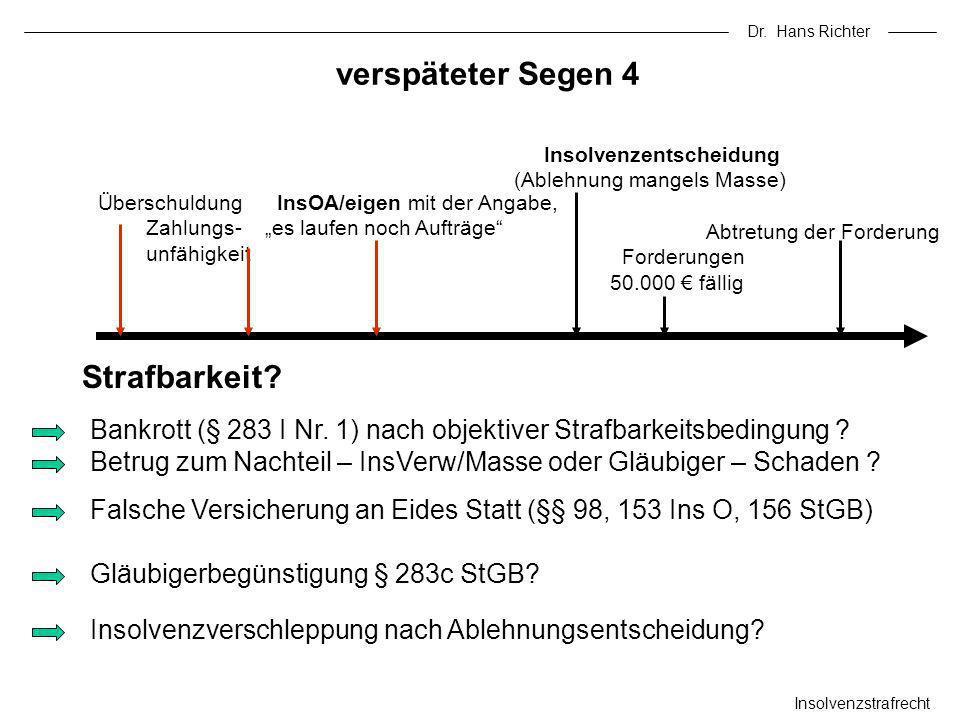 Dr. Hans Richter verspäteter Segen 4 Insolvenzstrafrecht Bankrott (§ 283 I Nr. 1) nach objektiver Strafbarkeitsbedingung ? Betrug zum Nachteil – InsVe