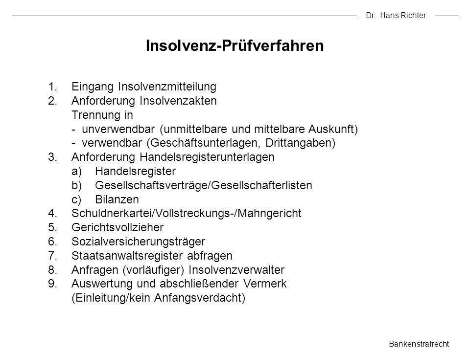 Dr. Hans Richter Bankenstrafrecht 1.Eingang Insolvenzmitteilung 2.Anforderung Insolvenzakten Trennung in - unverwendbar (unmittelbare und mittelbare A