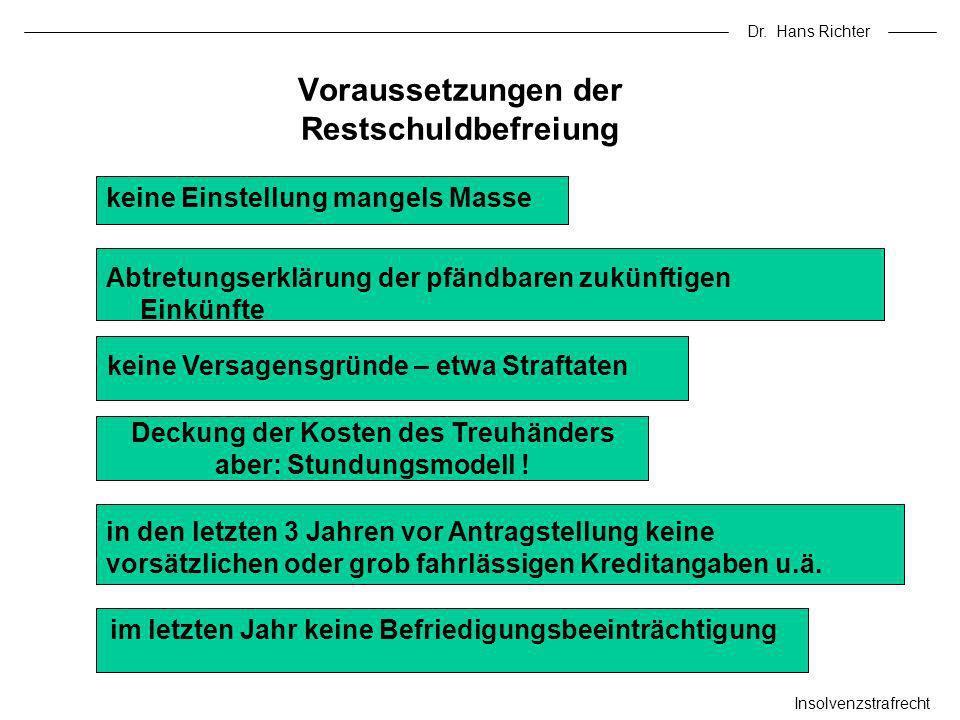 Dr. Hans Richter Insolvenzstrafrecht Voraussetzungen der Restschuldbefreiung keine Einstellung mangels Masse keine Versagensgründe – etwa Straftaten A
