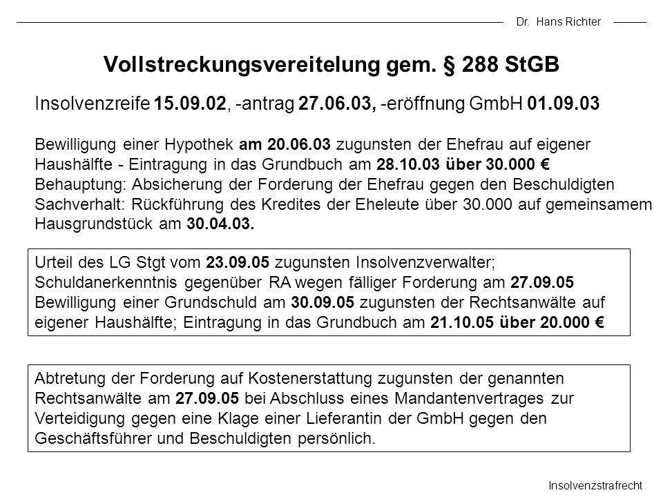 Dr. Hans Richter Insolvenzstrafrecht Vollstreckungsvereitelung gem. § 288 StGB Insolvenzreife 15.09.02, -antrag 27.06.03, -eröffnung GmbH 01.09.03 Bew