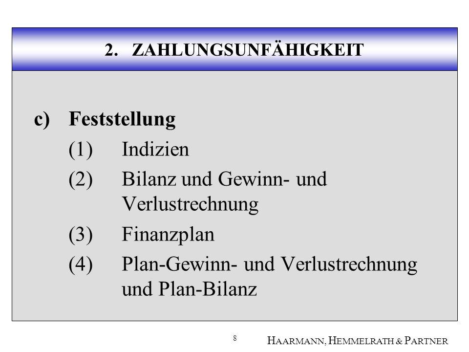 9 H AARMANN, H EMMELRATH & P ARTNER 2.ZAHLUNGSUNFÄHIGKEIT (1)Indizien eidesstattl.