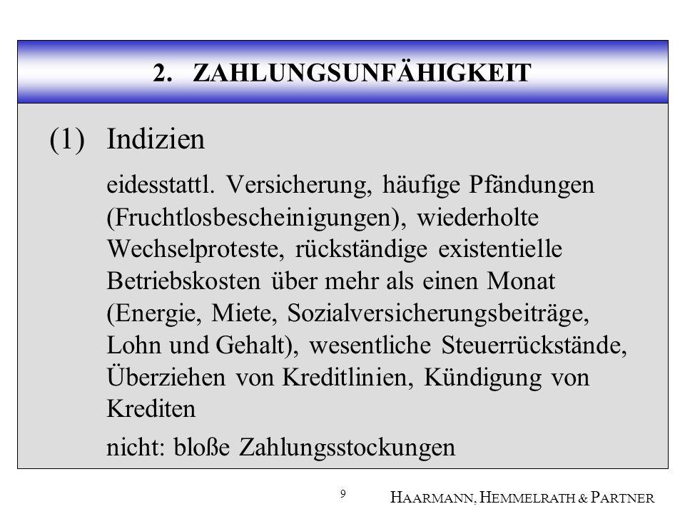 30 H AARMANN, H EMMELRATH & P ARTNER 3.ÜBERSCHULDUNG Immaterielle Vermögenswerte beinhalten z.B.