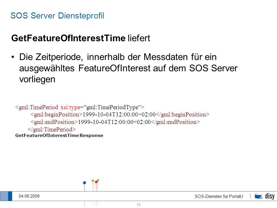 13 SOS-Diensten für PortalU 04.06.2009 SOS Server Diensteprofil GetFeatureOfInterestTime liefert Die Zeitperiode, innerhalb der Messdaten für ein ausg