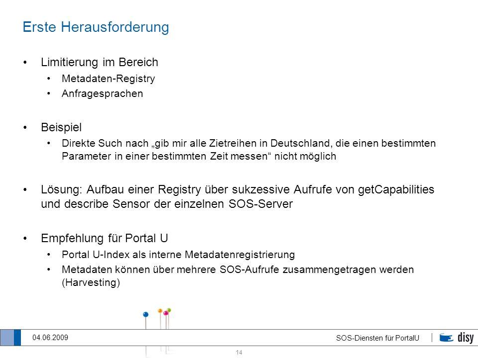 14 SOS-Diensten für PortalU 04.06.2009 Erste Herausforderung Limitierung im Bereich Metadaten-Registry Anfragesprachen Beispiel Direkte Such nach gib