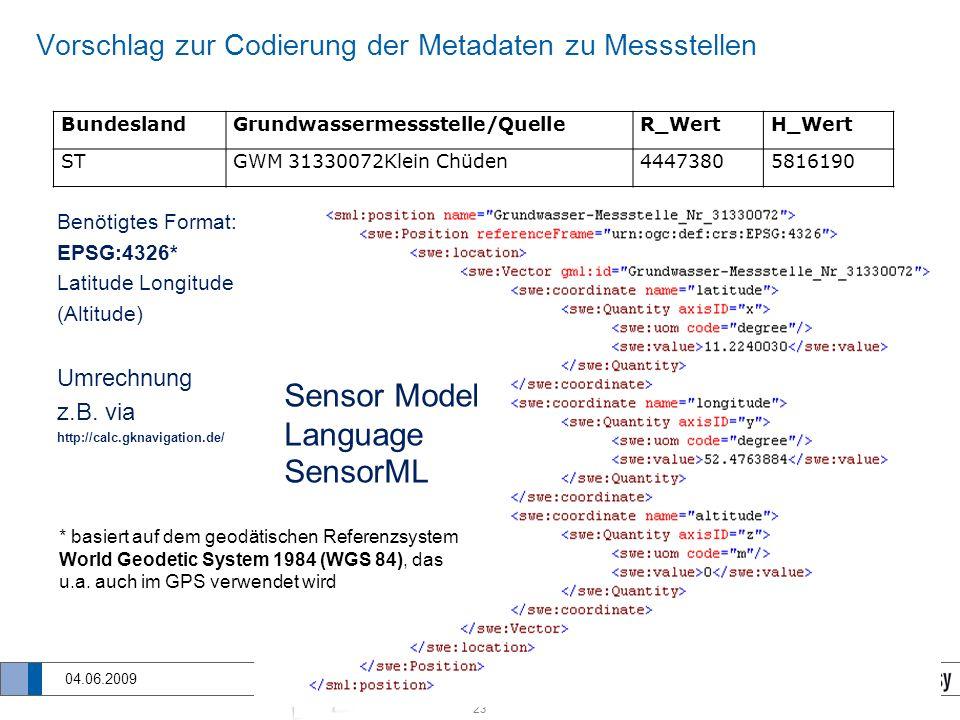23 SOS-Diensten für PortalU 04.06.2009 Vorschlag zur Codierung der Metadaten zu Messstellen Benötigtes Format: EPSG:4326* Latitude Longitude (Altitude