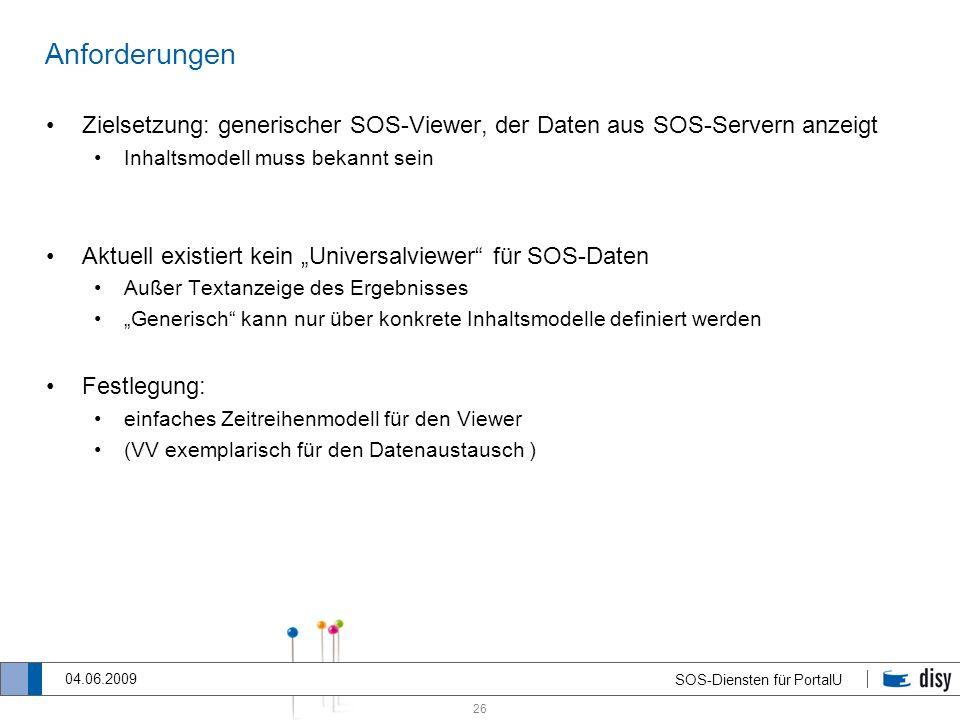 26 SOS-Diensten für PortalU 04.06.2009 Anforderungen Zielsetzung: generischer SOS-Viewer, der Daten aus SOS-Servern anzeigt Inhaltsmodell muss bekannt