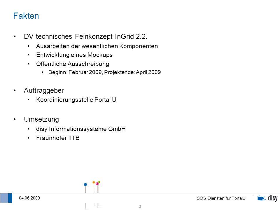 3 SOS-Diensten für PortalU 04.06.2009 Fakten DV-technisches Feinkonzept InGrid 2.2. Ausarbeiten der wesentlichen Komponenten Entwicklung eines Mockups