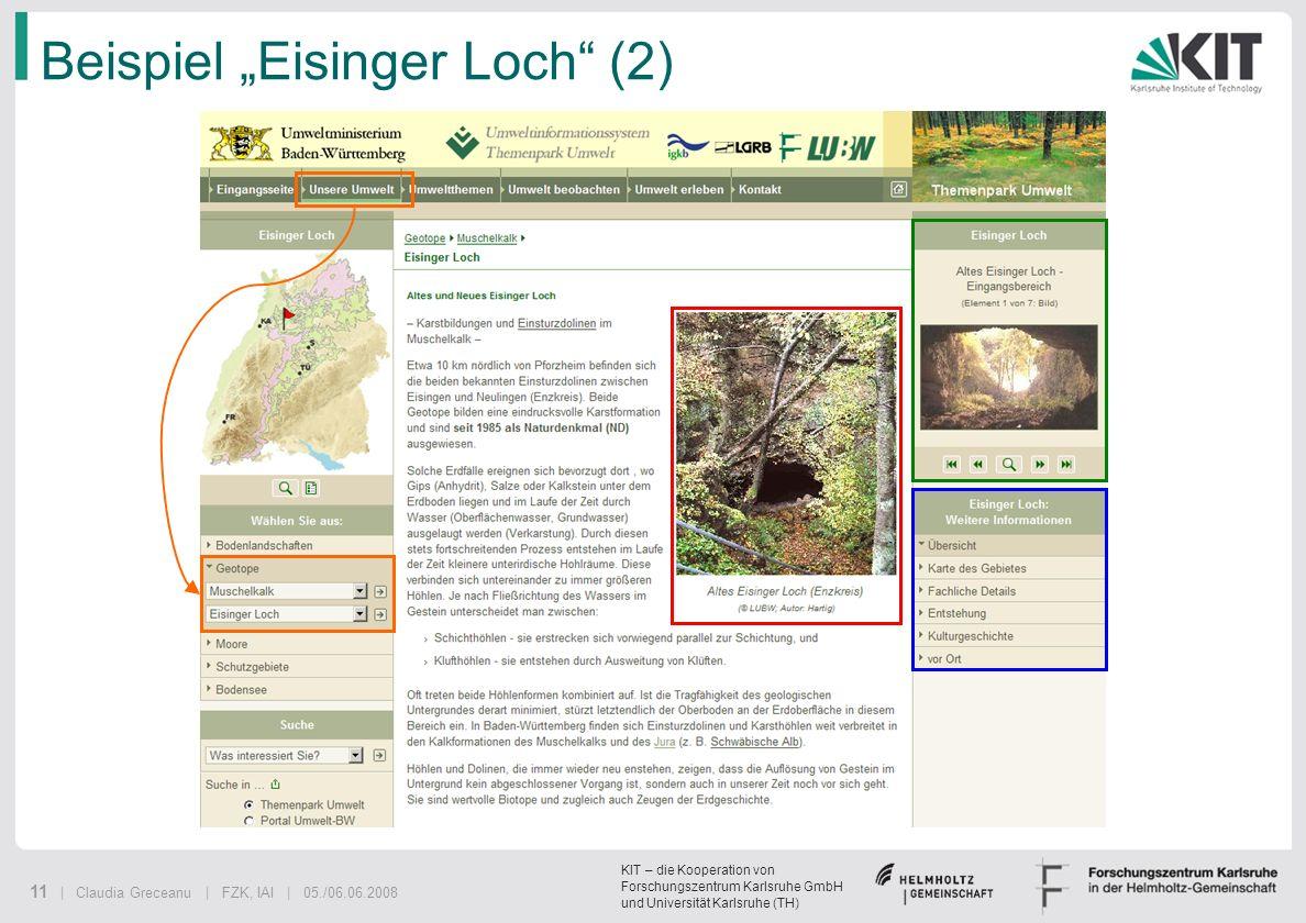 KIT – die Kooperation von Forschungszentrum Karlsruhe GmbH und Universität Karlsruhe (TH) 11 | Claudia Greceanu | FZK, IAI | 05./06.06.2008 Beispiel E