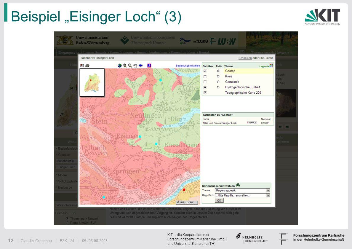 KIT – die Kooperation von Forschungszentrum Karlsruhe GmbH und Universität Karlsruhe (TH) 12 | Claudia Greceanu | FZK, IAI | 05./06.06.2008 Beispiel E