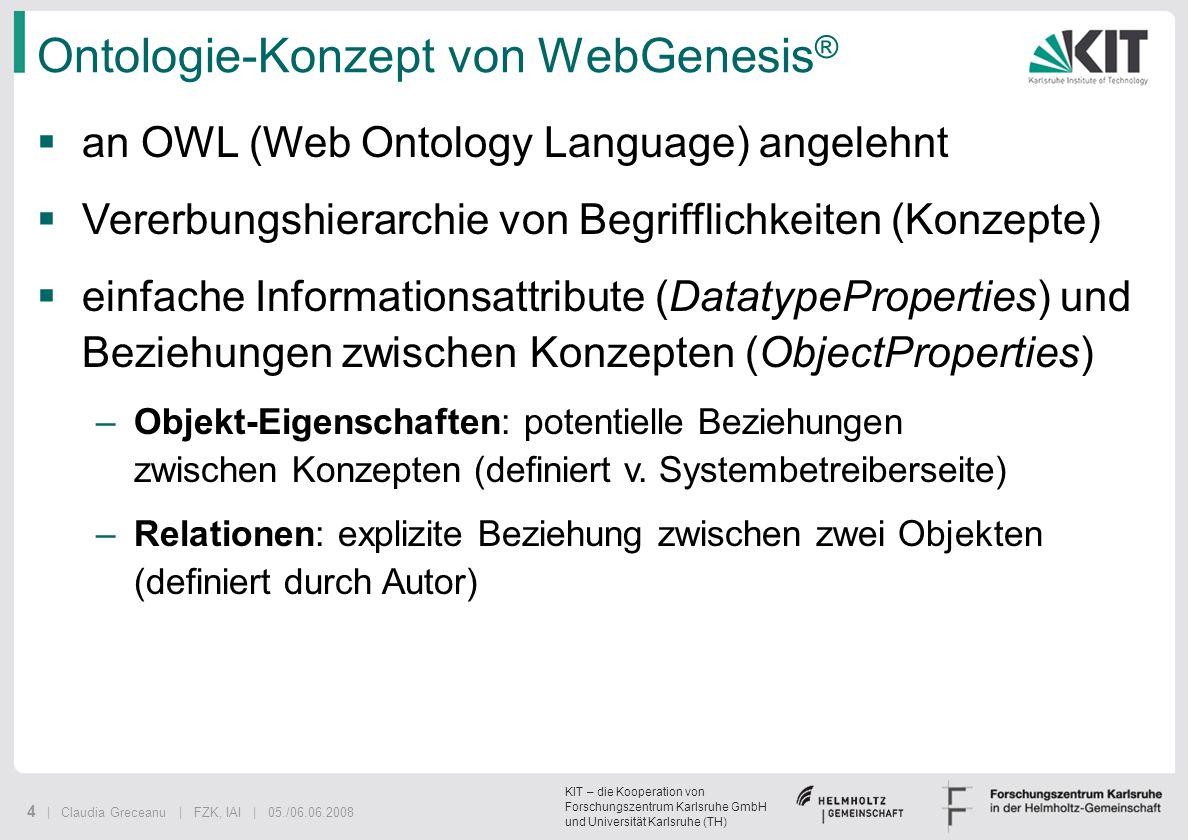 KIT – die Kooperation von Forschungszentrum Karlsruhe GmbH und Universität Karlsruhe (TH) 4 | Claudia Greceanu | FZK, IAI | 05./06.06.2008 Ontologie-K