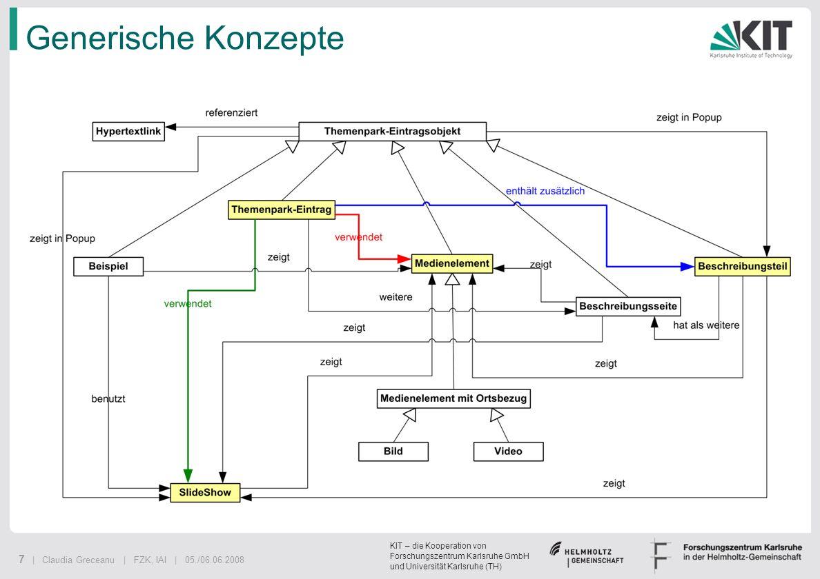 KIT – die Kooperation von Forschungszentrum Karlsruhe GmbH und Universität Karlsruhe (TH) 7 | Claudia Greceanu | FZK, IAI | 05./06.06.2008 Generische
