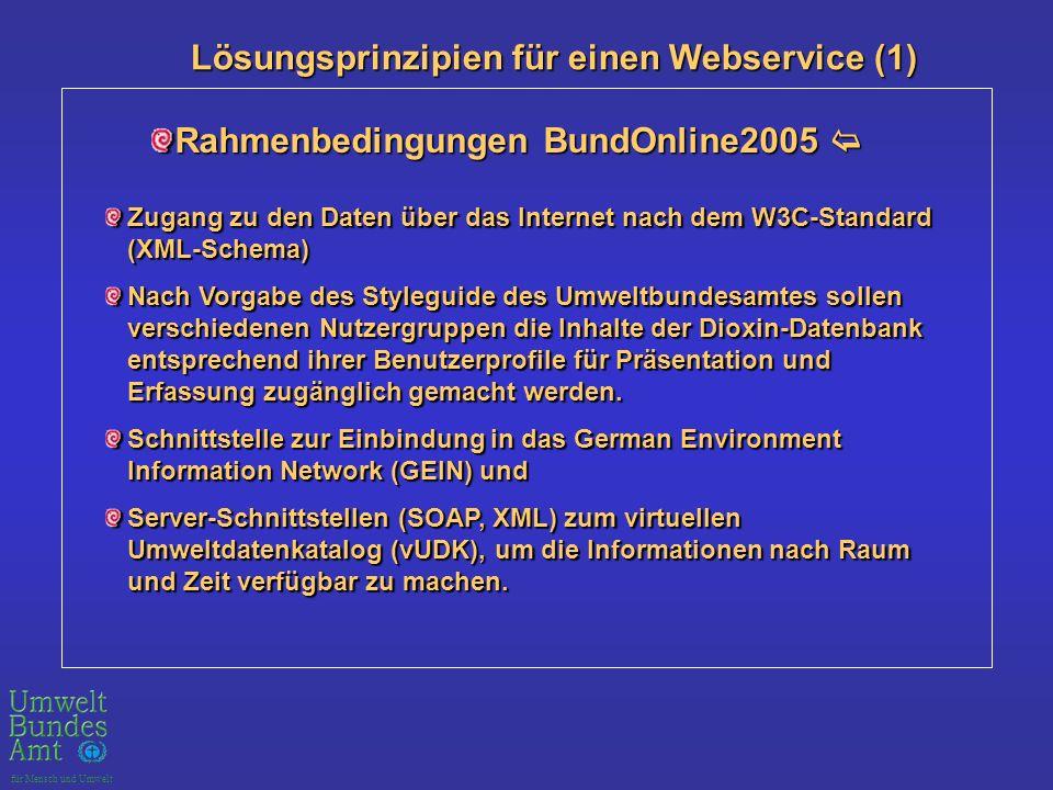 für Mensch und Umwelt Lösungsprinzipien für einen Webservice (1) Lösungsprinzipien für einen Webservice (1) Rahmenbedingungen BundOnline2005 Rahmenbedingungen BundOnline2005 Zugang zu den Daten über das Internet nach dem W3C-Standard (XML-Schema) Nach Vorgabe des Styleguide des Umweltbundesamtes sollen verschiedenen Nutzergruppen die Inhalte der Dioxin-Datenbank entsprechend ihrer Benutzerprofile für Präsentation und Erfassung zugänglich gemacht werden.