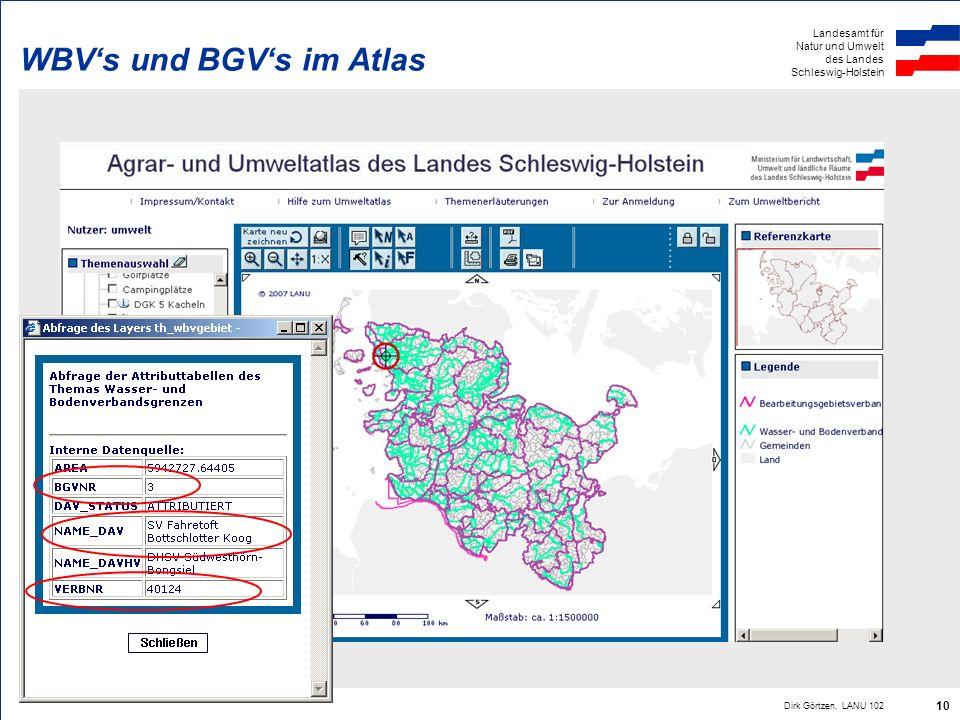 Landesamt für Natur und Umwelt des Landes Schleswig-Holstein Dirk Görtzen, LANU 102 10 WBVs und BGVs im Atlas