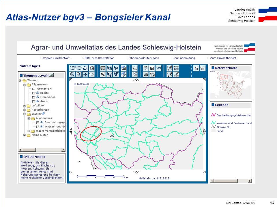 Landesamt für Natur und Umwelt des Landes Schleswig-Holstein Dirk Görtzen, LANU 102 13 Atlas-Nutzer bgv3 – Bongsieler Kanal