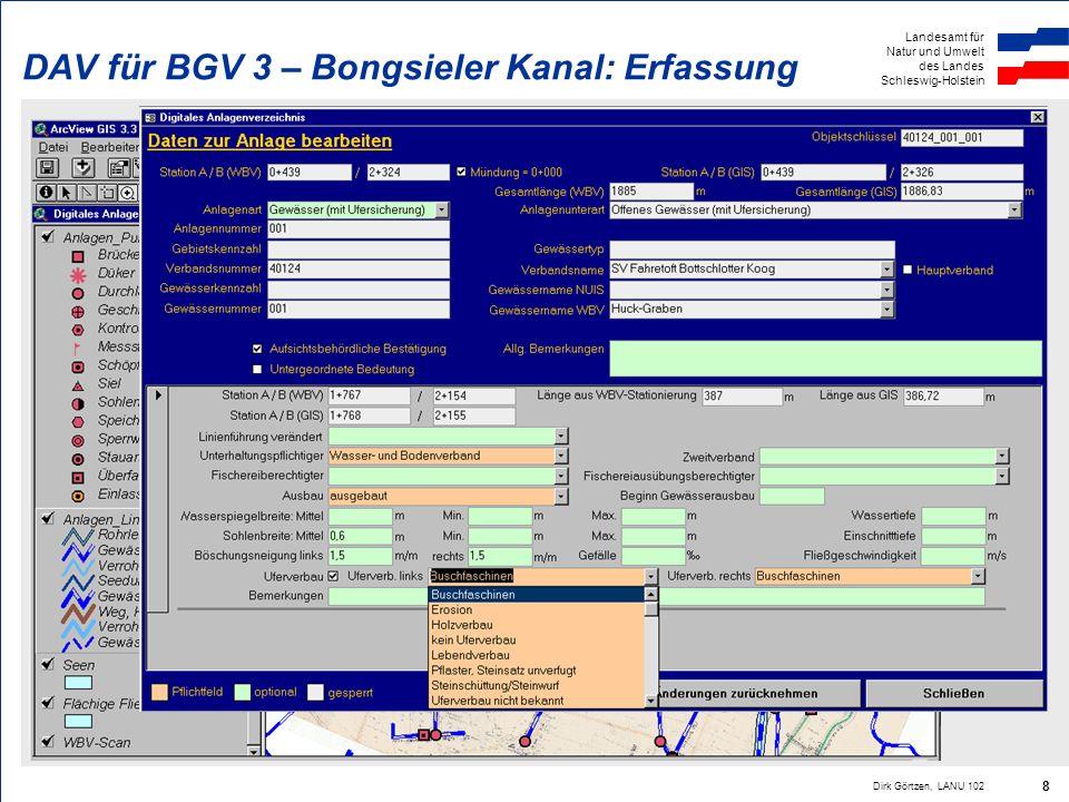 Landesamt für Natur und Umwelt des Landes Schleswig-Holstein Dirk Görtzen, LANU 102 8 DAV für BGV 3 – Bongsieler Kanal: Erfassung