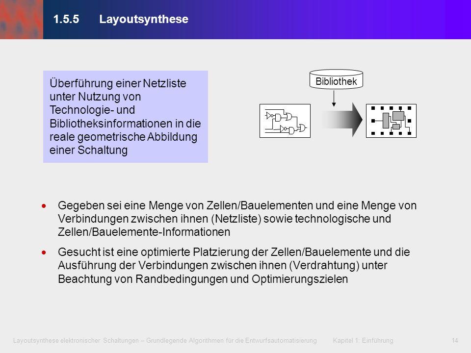 Layoutsynthese elektronischer Schaltungen – Grundlegende Algorithmen für die Entwurfsautomatisierung Kapitel 1: Einführung14 1.5.5Layoutsynthese Gegeb