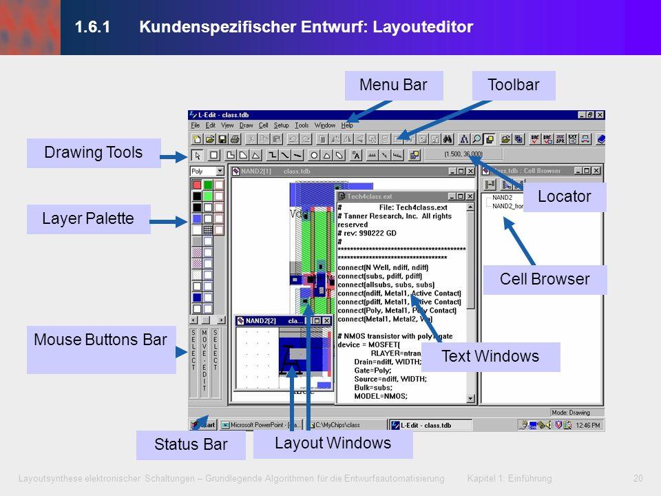 Layoutsynthese elektronischer Schaltungen – Grundlegende Algorithmen für die Entwurfsautomatisierung Kapitel 1: Einführung20 1.6.1 Kundenspezifischer