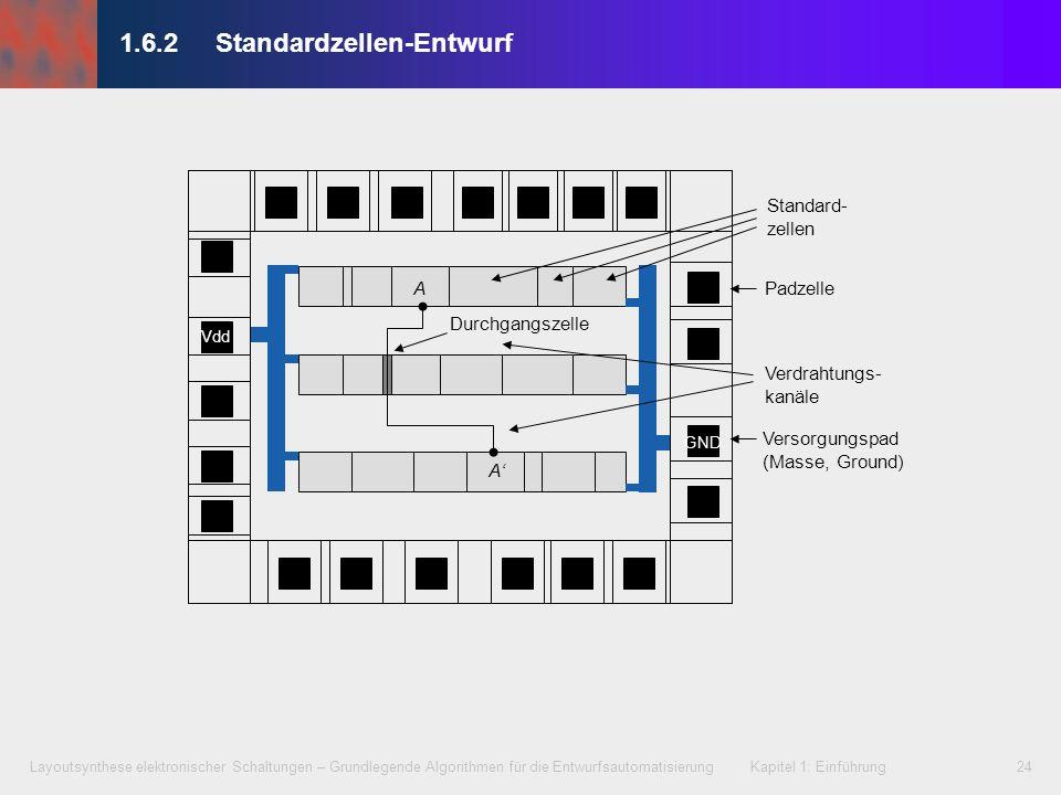 Layoutsynthese elektronischer Schaltungen – Grundlegende Algorithmen für die Entwurfsautomatisierung Kapitel 1: Einführung24 1.6.2 Standardzellen-Entw