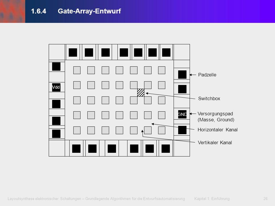 Layoutsynthese elektronischer Schaltungen – Grundlegende Algorithmen für die Entwurfsautomatisierung Kapitel 1: Einführung26 1.6.4Gate-Array-Entwurf G