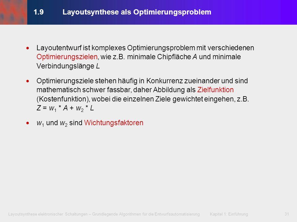 Layoutsynthese elektronischer Schaltungen – Grundlegende Algorithmen für die Entwurfsautomatisierung Kapitel 1: Einführung31 1.9Layoutsynthese als Opt