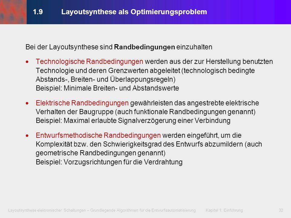Layoutsynthese elektronischer Schaltungen – Grundlegende Algorithmen für die Entwurfsautomatisierung Kapitel 1: Einführung32 1.9Layoutsynthese als Opt