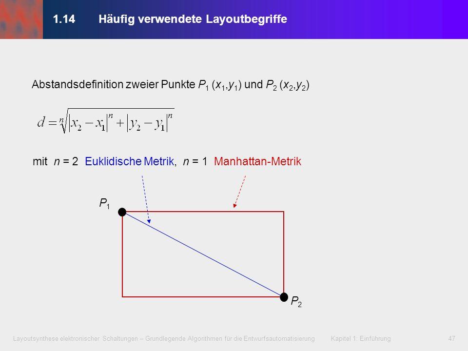 Layoutsynthese elektronischer Schaltungen – Grundlegende Algorithmen für die Entwurfsautomatisierung Kapitel 1: Einführung47 1.14Häufig verwendete Lay