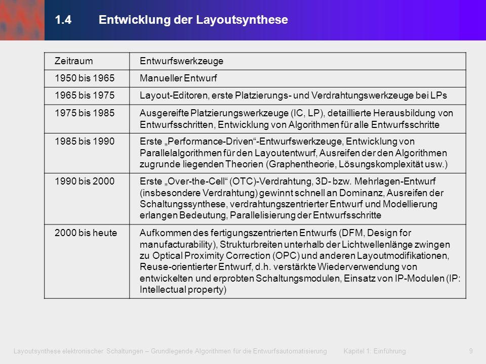 Layoutsynthese elektronischer Schaltungen – Grundlegende Algorithmen für die Entwurfsautomatisierung Kapitel 1: Einführung9 1.4 Entwicklung der Layout