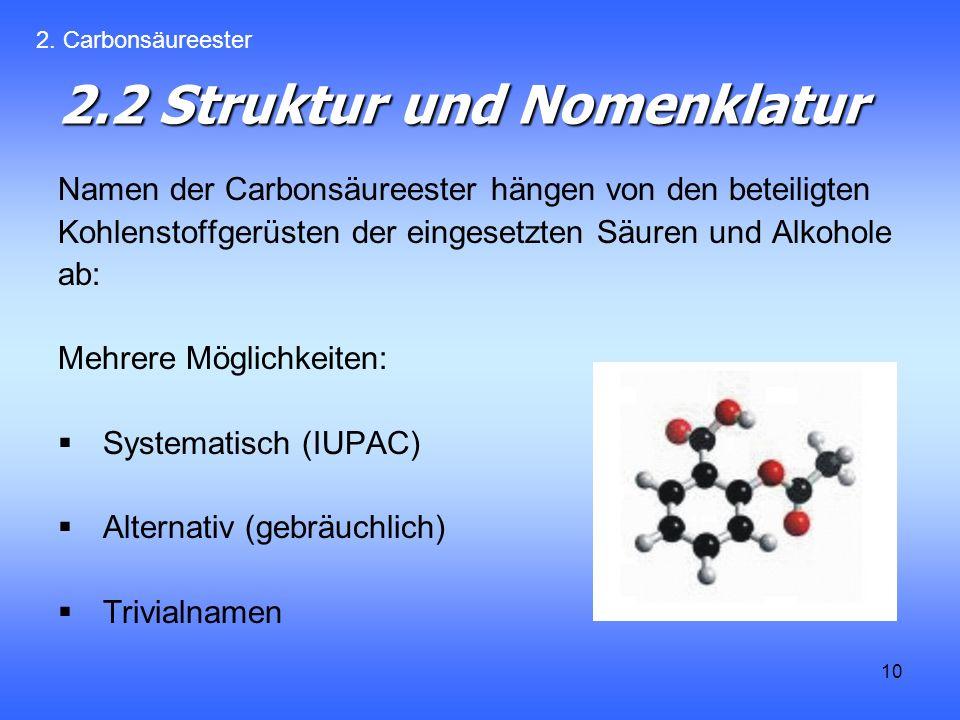 10 2.2 Struktur und Nomenklatur Namen der Carbonsäureester hängen von den beteiligten Kohlenstoffgerüsten der eingesetzten Säuren und Alkohole ab: Mehrere Möglichkeiten: Systematisch (IUPAC) Alternativ (gebräuchlich) Trivialnamen 2.