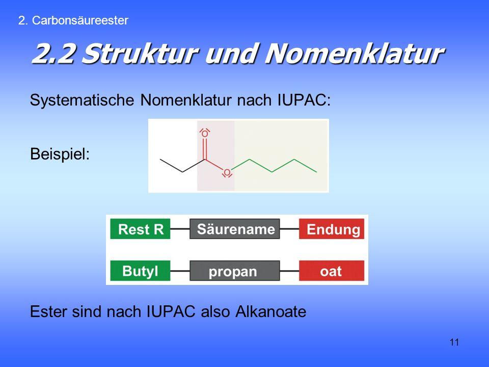 11 2.2 Struktur und Nomenklatur Systematische Nomenklatur nach IUPAC: Ester sind nach IUPAC also Alkanoate 2.