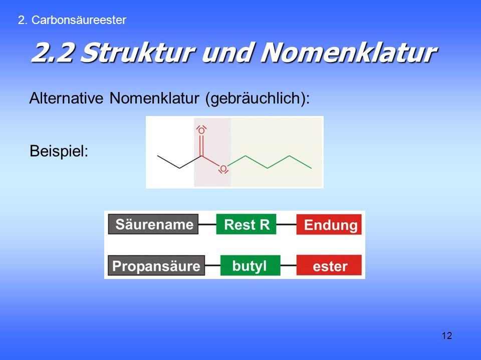12 2.2 Struktur und Nomenklatur Alternative Nomenklatur (gebräuchlich): 2.