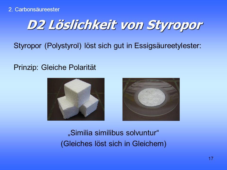17 D2 Löslichkeit von Styropor Styropor (Polystyrol) löst sich gut in Essigsäureetylester: Prinzip: Gleiche Polarität Similia similibus solvuntur (Gleiches löst sich in Gleichem) 2.