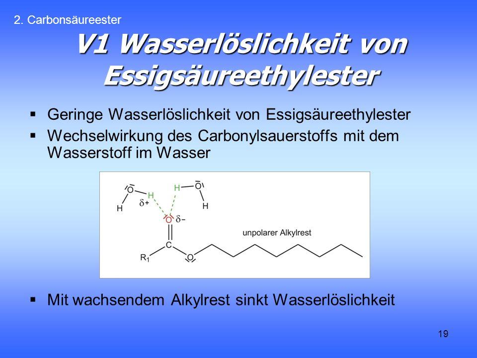 19 V1 Wasserlöslichkeit von Essigsäureethylester Geringe Wasserlöslichkeit von Essigsäureethylester Wechselwirkung des Carbonylsauerstoffs mit dem Wasserstoff im Wasser Mit wachsendem Alkylrest sinkt Wasserlöslichkeit 2.