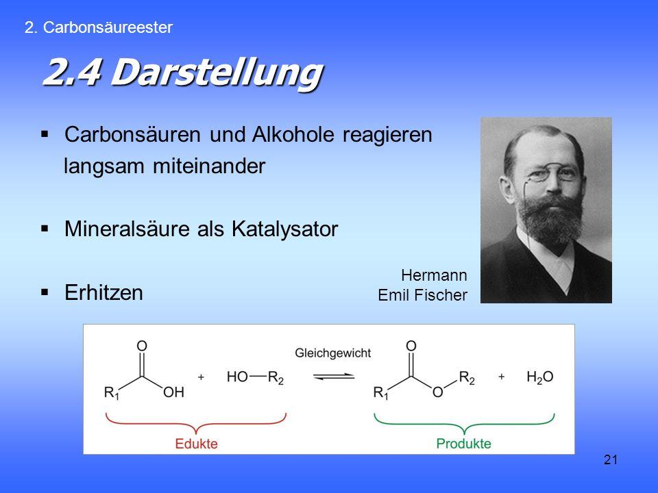 21 2.4 Darstellung Carbonsäuren und Alkohole reagieren langsam miteinander Mineralsäure als Katalysator Erhitzen 2.