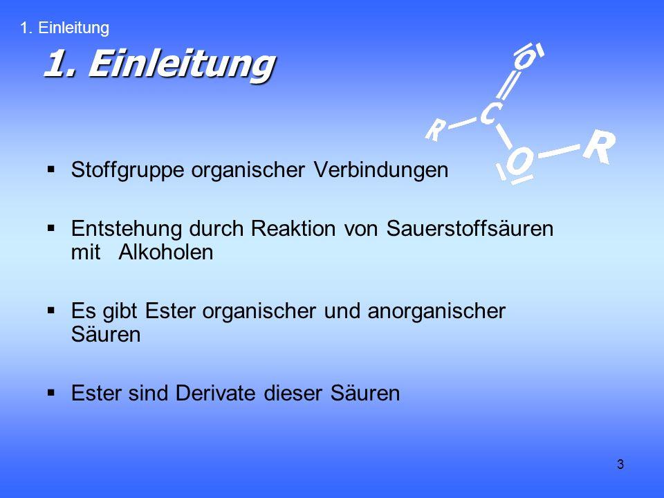 3 1. Einleitung Stoffgruppe organischer Verbindungen Entstehung durch Reaktion von Sauerstoffsäuren mit Alkoholen Es gibt Ester organischer und anorga
