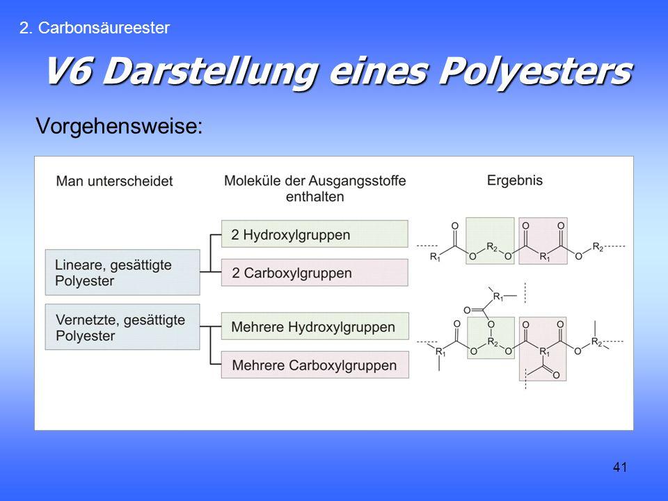 41 V6 Darstellung eines Polyesters Vorgehensweise: 2. Carbonsäureester