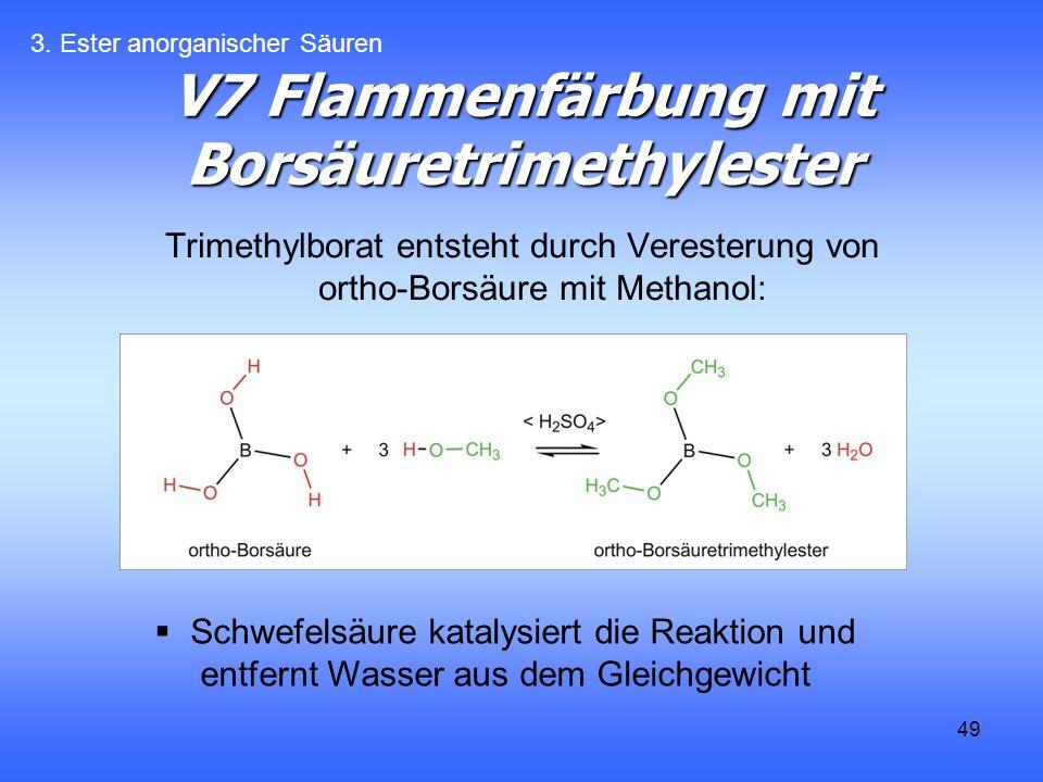 49 V7 Flammenfärbung mit Borsäuretrimethylester Trimethylborat entsteht durch Veresterung von ortho-Borsäure mit Methanol: 3.