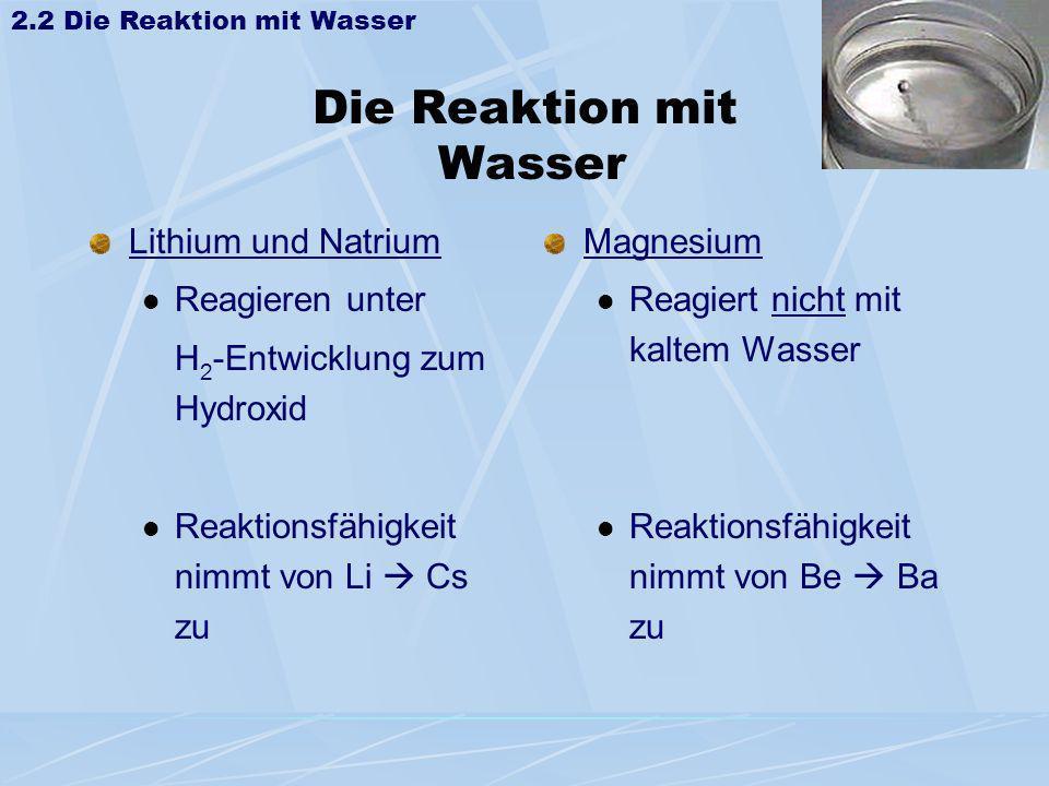 Die Reaktion mit Wasser Lithium und Natrium Reagieren unter H 2 -Entwicklung zum Hydroxid Reaktionsfähigkeit nimmt von Li Cs zu Magnesium Reagiert nic
