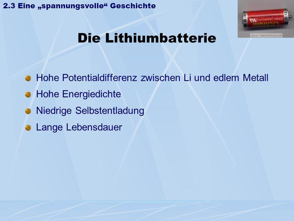 Die Lithiumbatterie Hohe Potentialdifferenz zwischen Li und edlem Metall Hohe Energiedichte Niedrige Selbstentladung Lange Lebensdauer 2.3 Eine spannu