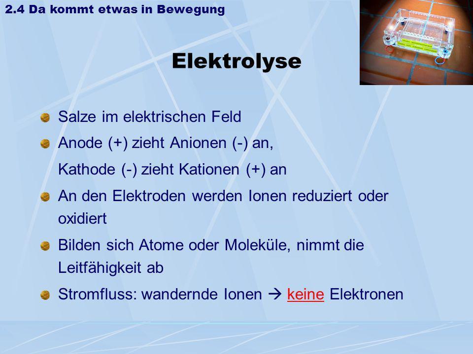 Elektrolyse Salze im elektrischen Feld Anode (+) zieht Anionen (-) an, Kathode (-) zieht Kationen (+) an An den Elektroden werden Ionen reduziert oder