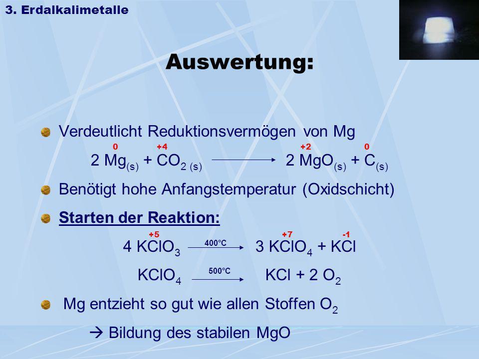 Auswertung: Verdeutlicht Reduktionsvermögen von Mg 2 Mg (s) + CO 2 (s) 2 MgO (s) + C (s) Benötigt hohe Anfangstemperatur (Oxidschicht) Starten der Rea