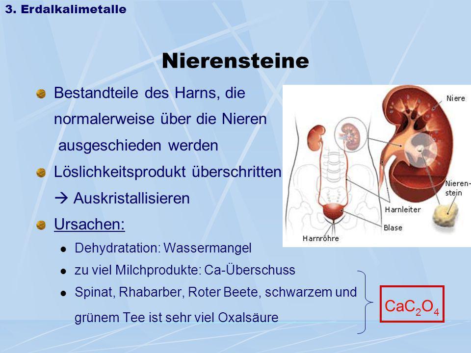 Nierensteine Bestandteile des Harns, die normalerweise über die Nieren ausgeschieden werden Löslichkeitsprodukt überschritten Auskristallisieren Ursac