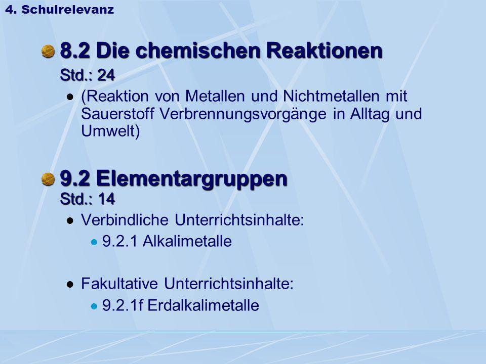8.2 Die chemischen Reaktionen Std.: 24 (Reaktion von Metallen und Nichtmetallen mit Sauerstoff Verbrennungsvorgänge in Alltag und Umwelt) 9.2 Elementa