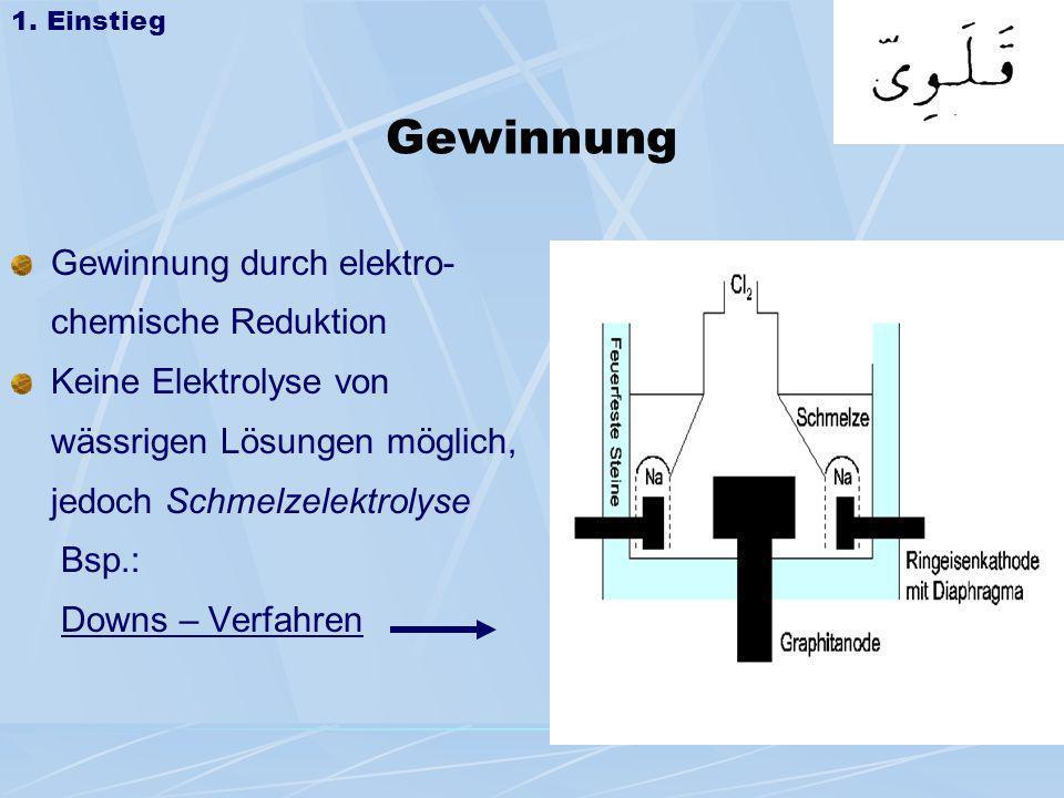 Gewinnung Gewinnung durch elektro- chemische Reduktion Keine Elektrolyse von wässrigen Lösungen möglich, jedoch Schmelzelektrolyse Bsp.: Downs – Verfa