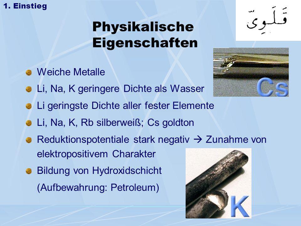 Auswertung: Die Reaktion mit Wasser: 2 Na (s) + 2 H 2 O 2 Na + (aq) + 2 OH - (aq) + H 2(g) Die Indikatorwirkung: HInd + OH - (aq) Ind - + H 2 O (Indikatorsäure (Indikatorbase Phenolphthalein) farblos violett 2.2 Die Reaktion mit Wasser +10 0