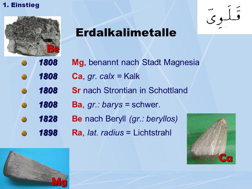 Erdalkalimetalle 1808 1808 Mg, benannt nach Stadt Magnesia 1808 1808Ca, gr. calx = Kalk 1808 1808Sr nach Strontian in Schottland 1808 1808Ba, gr.: bar