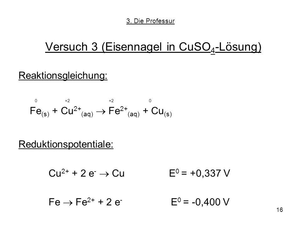 16 Versuch 3 (Eisennagel in CuSO 4 -Lösung) Reaktionsgleichung: 0 +2 +2 0 Fe (s) + Cu 2+ (aq) Fe 2+ (aq) + Cu (s) Reduktionspotentiale: Cu 2+ + 2 e -